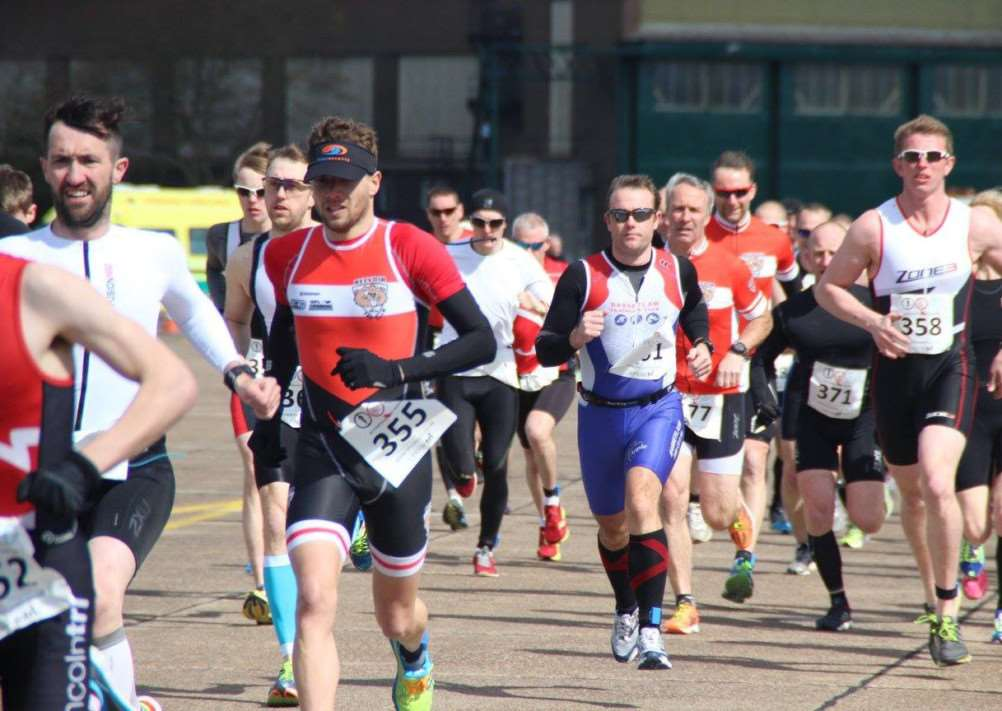 Belvoir Tri Club's Adam Jackson (no. 355) on his way to a creditable third place at RAF Scampton.