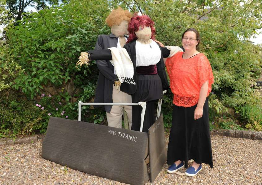 Scarecrow competition and Oasby and Aisby. Alison Kennedy of Aisby with her scarecrows from Titanic. EMN-150107-174909001