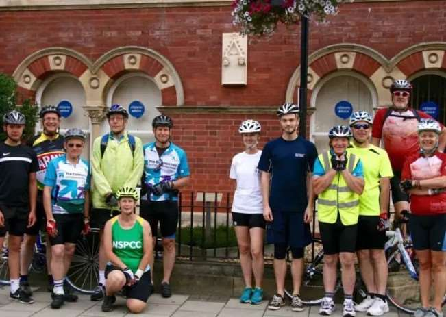 Fund-raisers who took part in the Queen Eleanor Cycle Ride are pictured last year by the Queen Eleanor plaque at the Guildhall in Grantham.