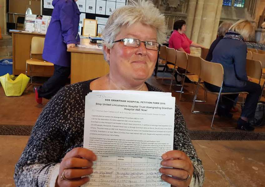 Jayne Dawson, 50, of Angel Court, Ancaster, has singlehandedly obtained almost 11,000 signatures for the petition to restore A&E services at Grantham.