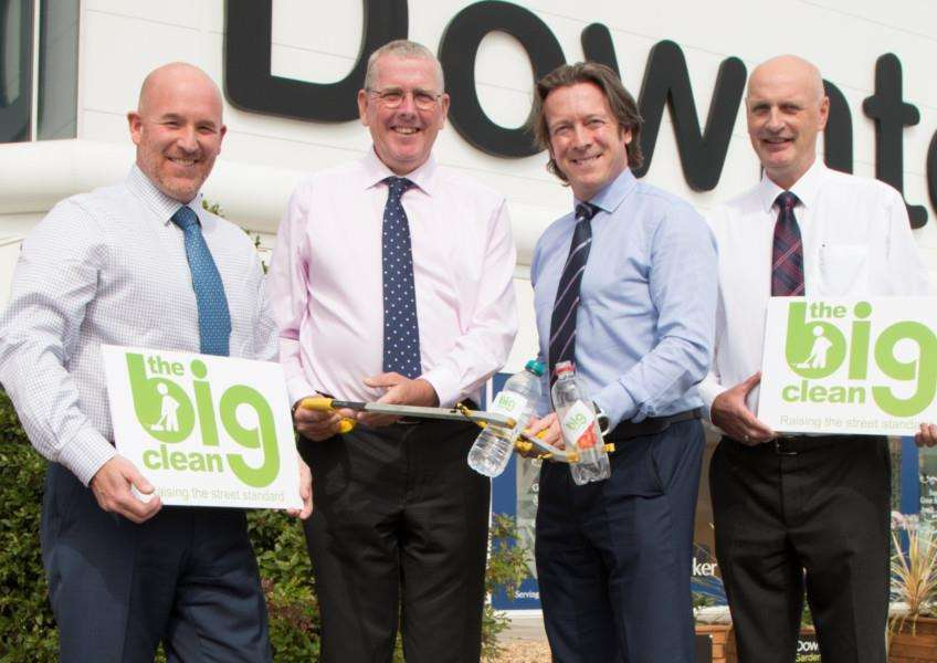 Downtown is supporting the 'Big Clean'. Pictured, from left, are - Marcus Meadows, Coun Peter Moseley, Richard Broadhead and Steve Goulder.