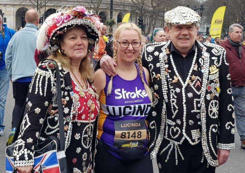 GRC's Lucinda Gamble with a pearly king and queen.