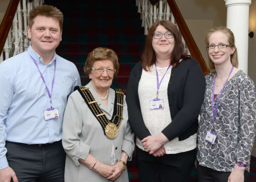 Mayor of Grantham with representavies of her chosen charity Trust House Lincolnshire, from left, Neil Wells, Sian Reynolds and Kath Webb. EMN-160520-160150001
