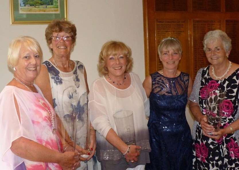 Pictured with lady captain Sue Hall, winners of the Ladies' Am-Am Competition are, from left - Carol Taylor, Linda Midgley, Grace Andrew and Margaret Henson.