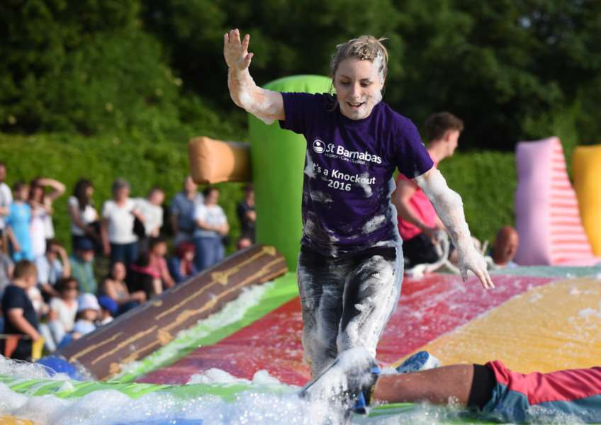 It's A Knockout in Wyndham Park, Grantham, organised by St Barnabas Grantham Hospice.