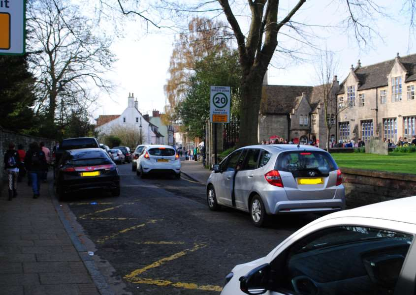 Traffic outside the National Junior School in Grantham.