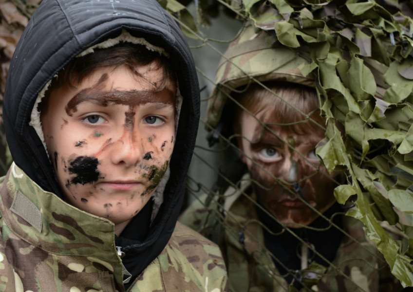 Pupils tried out camouflage