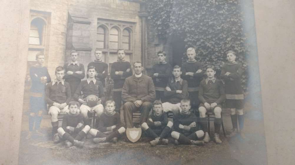 C.H. Doubleday (front row, far left), in a photo of the Newton House Rugby Team, King's School, 1906-07. He served in the navy and died on June 11, 1916.