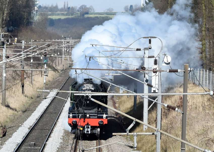 Flying Scotsman just before it enters Peascliffe tunnel near Grantham on February 24, 2016. Photo: Toby Roberts