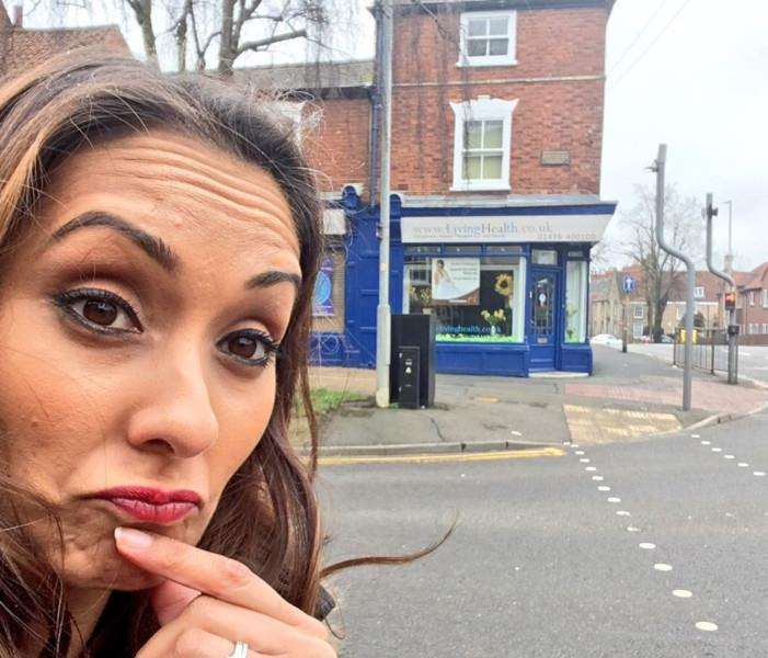 Babita Sharma outside a famous Grantham corner shop