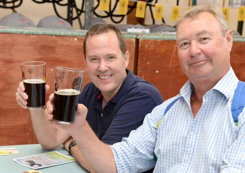 CAMRA Beer Festival, Huntingtower Community Primary Academy. Pictured are: Danny Hooe and Ian Macdonald