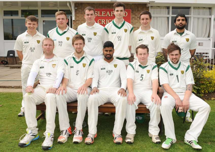 Grantham CC are from left, front - Dan Webb, Joe Peck, Karanjit Bansal, Danny Ashley and Rory Johnson; back - Jamie Brumby, Neel Stevenson, David Whapplington, Oliver Clawson, Stewart Mudie and Rahul Kumar. Photo: David Dawson