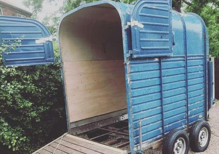 The horse box that Lauren and Adam Gray converted into a mobile Prosecco bar.