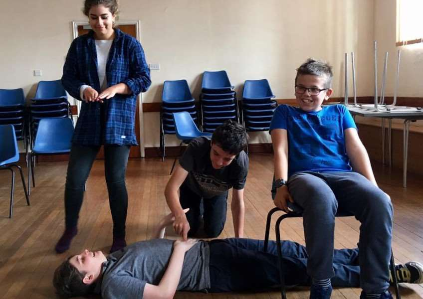 Youngsters take part in a PerfAct Youth Theatre Group session.