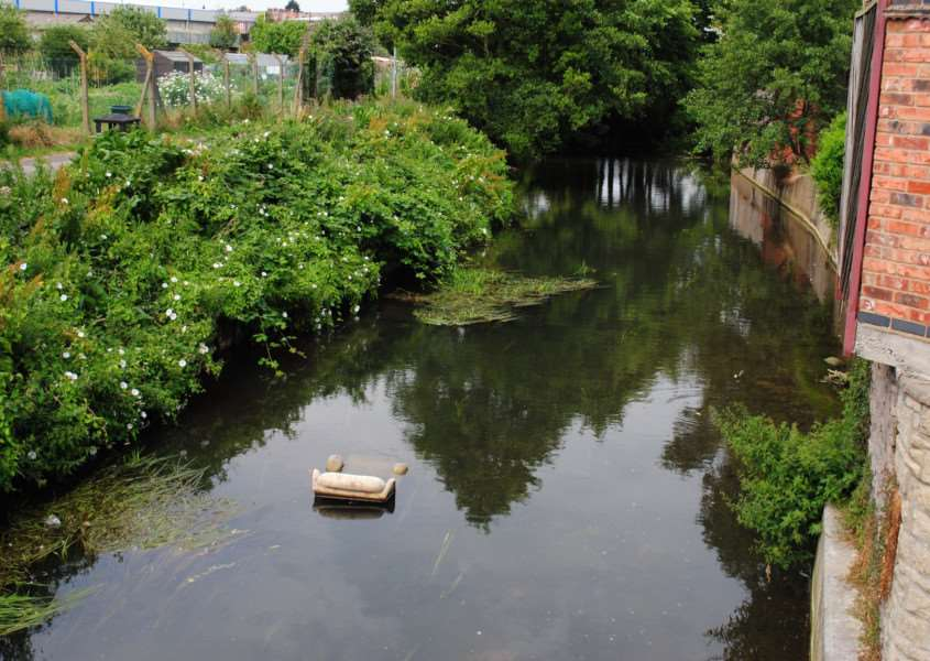 A chair has been dumped in the River Witham near Bridge End Road.