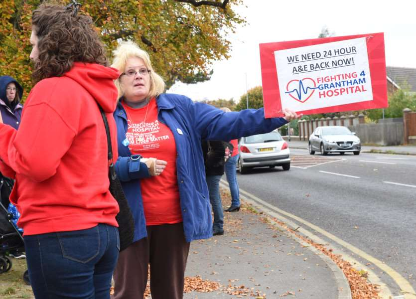 Protesters get their message across outside Grantham Hospital on Sunday.