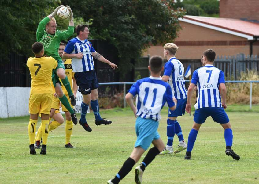 Action from Harrowby United's first pre-season game against Dunkirk FC. Photo: Toby Roberts
