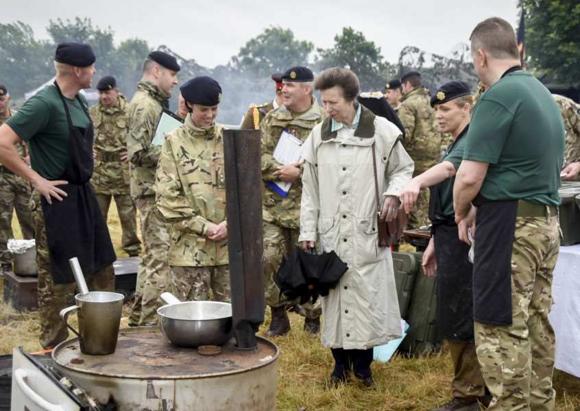 HRH Princess Anne is shown around at the Field Catering and Culinary Arts Competition. '''Photo: Sergeant Brian Gamble