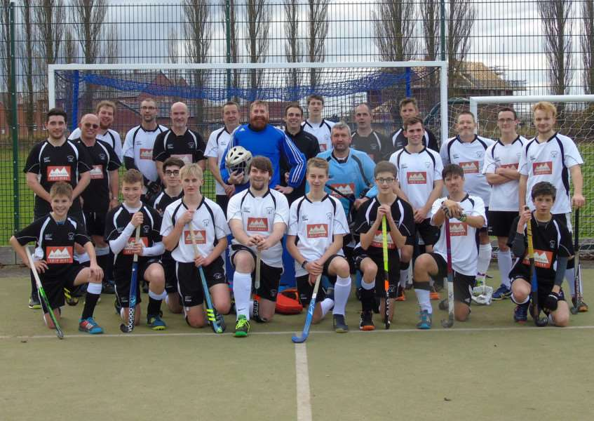 Leadenham Hockey Club men's seconds (in white) and the third team.