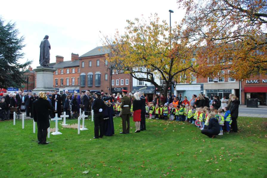 Paying their respects on Armistice Day in Grantham.