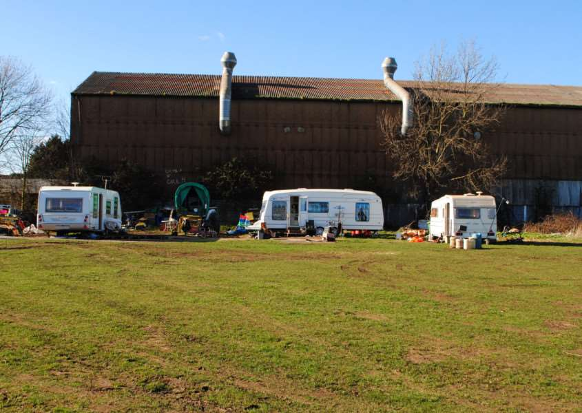Travellers have been living on land next to the recycling depot in Grantham for nearly a year.