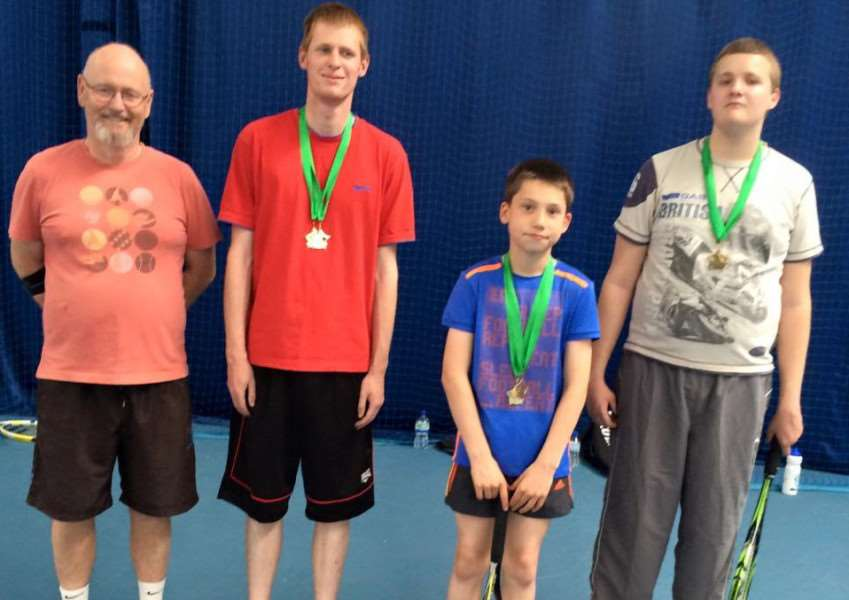 Pictured from left are Grantham TC coach Richard Edgley, Thomas Dowsett, Ryan Carve, and Aidan Bennett. zPJvooVe1SlN2aeLX596