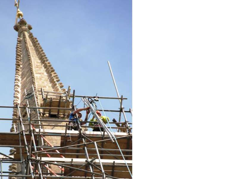 Scaffolding around St Wulfram's Church in Grantham is gradually coming down.