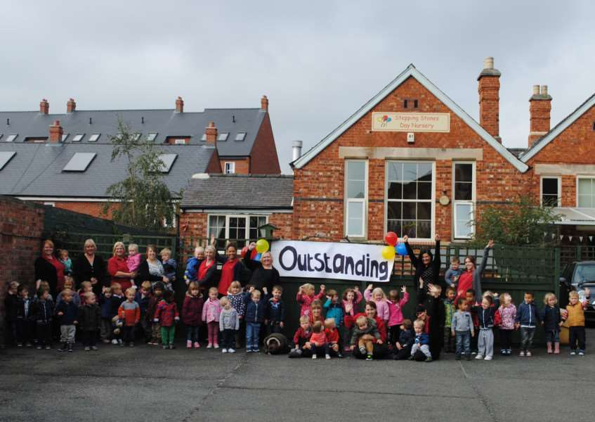 Staff and children celebrate Stepping Stones receiving another 'outstanding' Ofsted report.