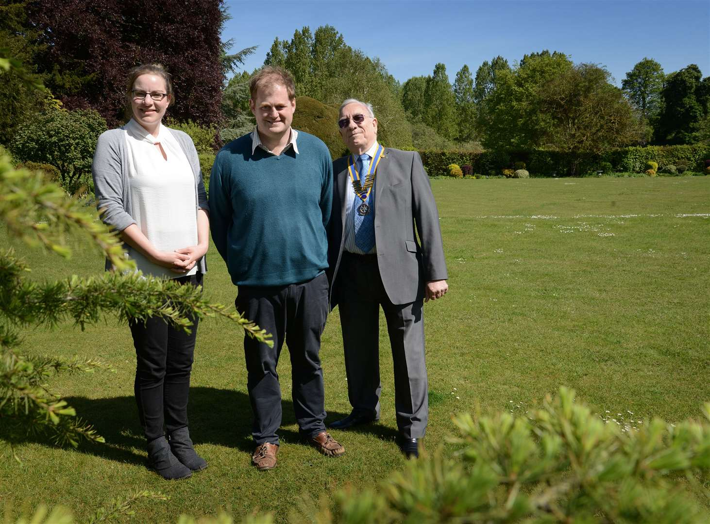 Pictured in the gardens of Little Ponton Hall are Journal editor Marie Bond, George McCorquodale and Grantham Rotary Club president Ray Klingels. (10392131)
