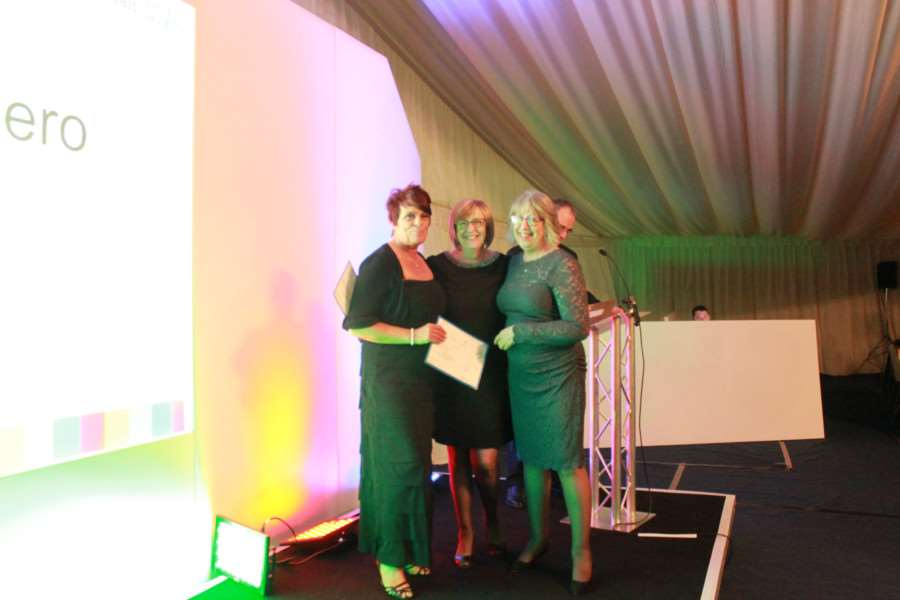 ULHT awards: Unsung Hero award - Pictured from left, highly commended Grantham porter Sonya Sargent, non-executive Director Kate Truscott and Carol Resner (also highly commended).