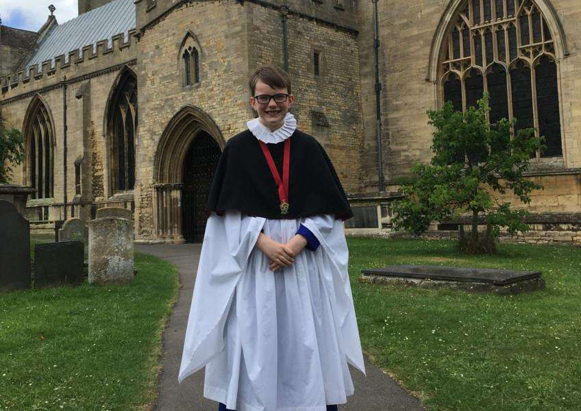 Samuel Davie, 11, has become the youngest chorister at St Wulfram's in Grantham to achieve the Royal School of Church Music Gold Award.