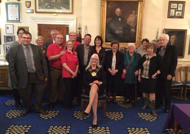 The Mayor of Grantham Coun Linda Wootten with invited guests at the presentation of her fund-raising total to the Grantham Carnival and Events Group.