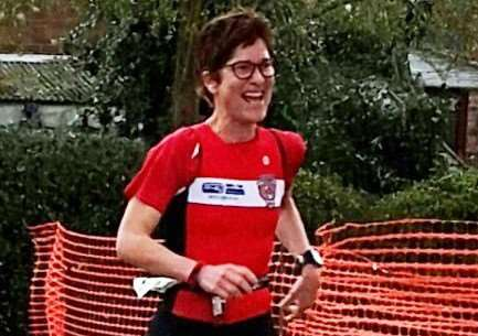 Marijke De Groot crossing the finish line in her first duathlon at Stathern.