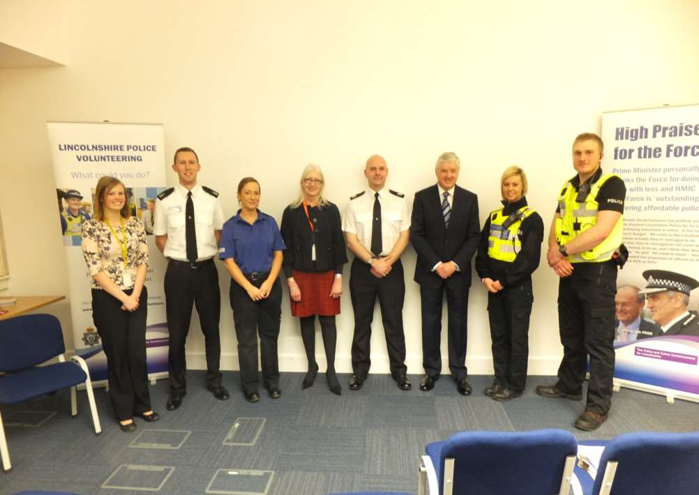 Police volunteer recruitment event at Grantham police station.