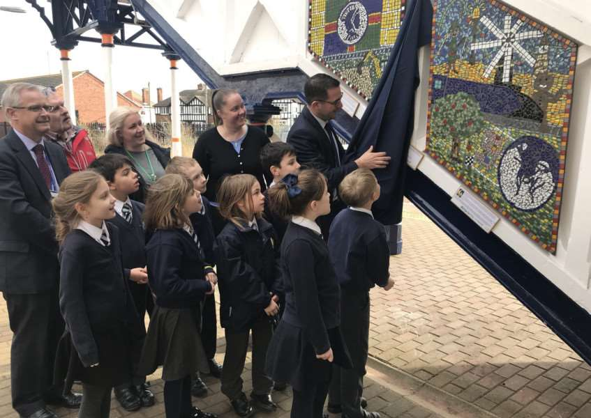 St Mary's Primary School pupils at the unveiling of the mural at Sleaford railway station.