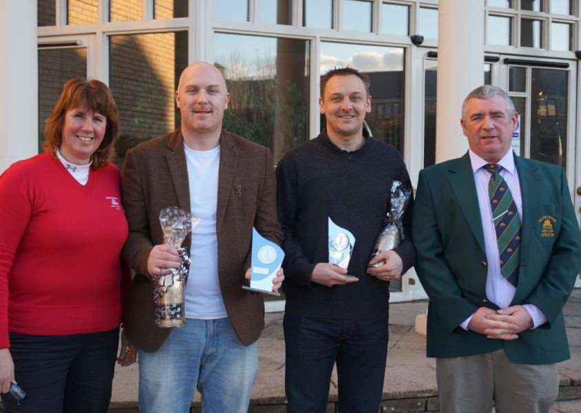 Belton Woods Captains' Drive-In competition winning pair of men, Jason Lamb and Leigh Shotliff, with men's and ladies' captains Paul Perrin and Jackie Wilson.