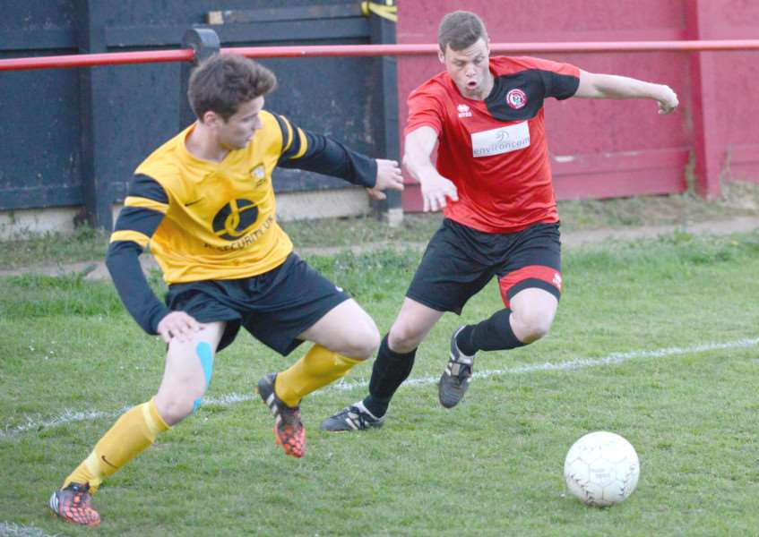 Action from Harrowby United's win over Deeping Rangers on Tuesday night. Photo: Toby Roberts