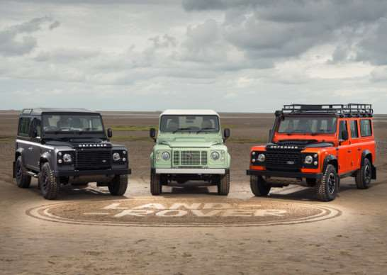 Pictured from left, 2015 Land Rover Defender Autobiography, Heritage and Adventure Editions. Photo: PA