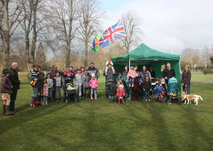 Children take part in the Easter Egg Hunt in Wyndham Park.