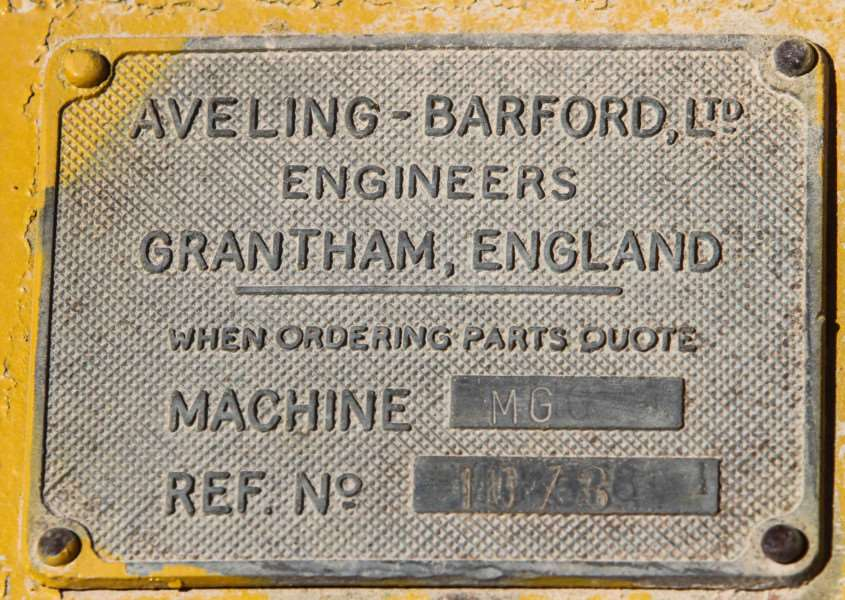 A plate on an Aveling Barford MG6 Motor Grader seen in Paphos, Cyprus, by Shane Marshall.