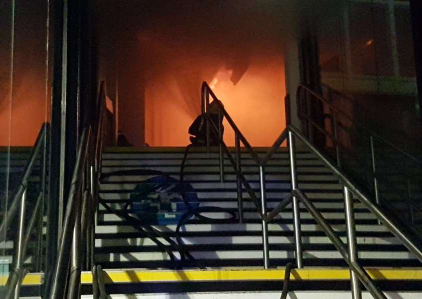 Firefighters tackle the huge blaze at Nottingham train station. Pic: Twitter
