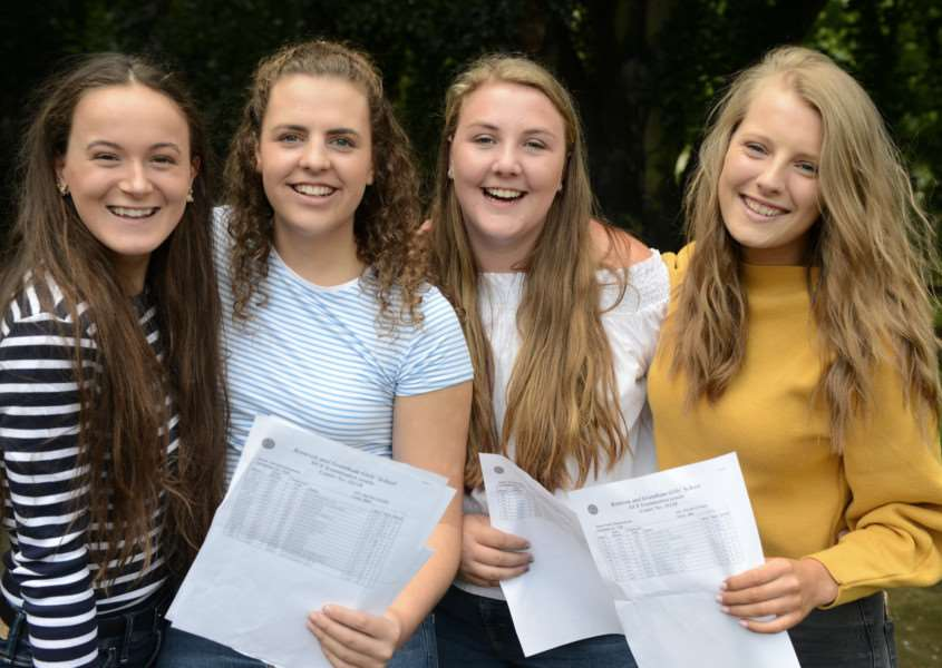 A-levels, KGGS: Elena Scarborough, Giorgia Bosworth, Phoebe Wardle and Katie Weatherstone.