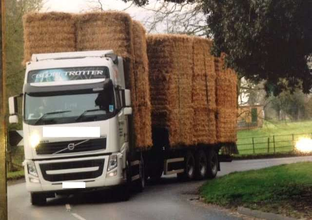 A resident provided this picture of one of the HGVs transporting straw through Stragglethorpe.