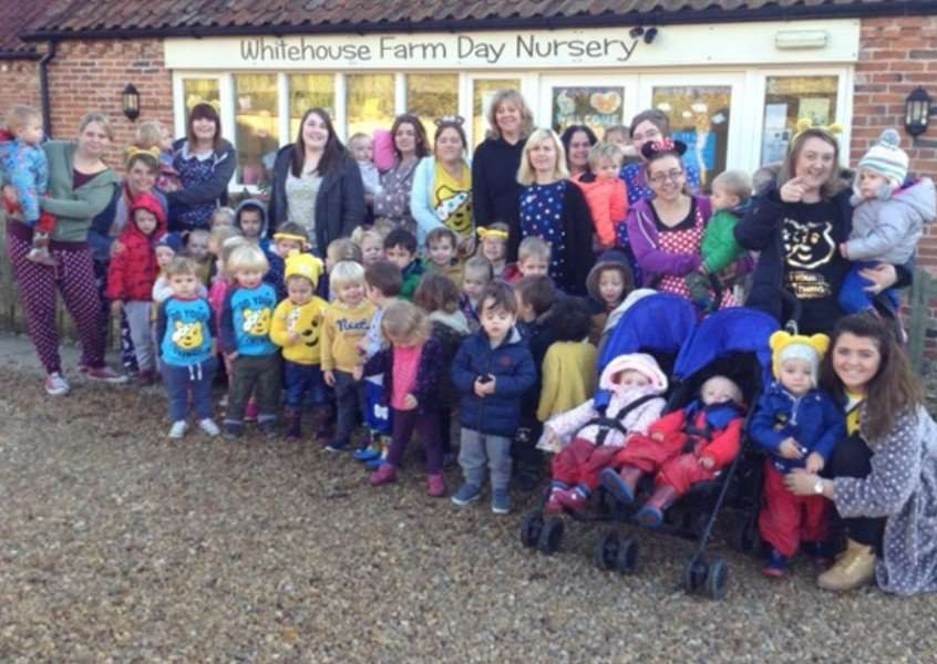 Whitehouse Farm Day Nursery, Sedgebrook: The staff and children took part in a fun filled week including wearing spotty clothes, tombola, a sponsored bounce and a bake sale.
