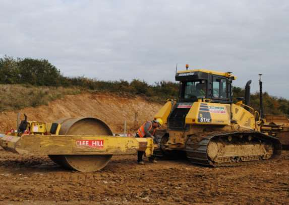 Bulldozers start work on the Grantham southern relief road.