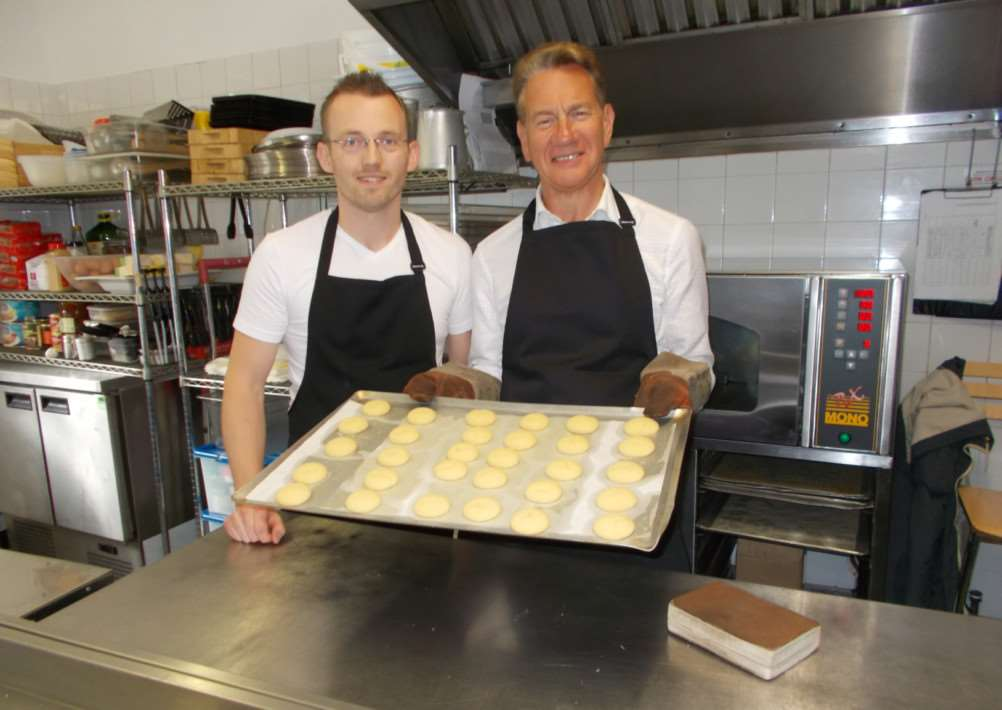 Alastair Hawken and Michael Portillo make gingerbread for the new series of Great British Railway Journeys.