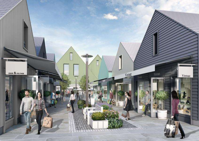 An artist's impression of the designer retail village planned by Buckminster and Rioja Developments between the A1 and Spittlegate Level.