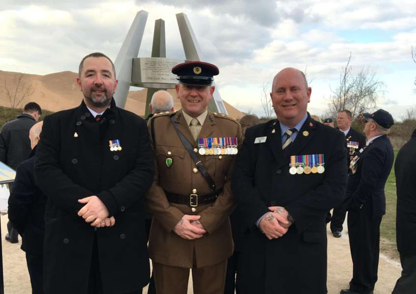 From left - Alan Hunt, Captain Andy Kerr RE and Kevin Doughty.