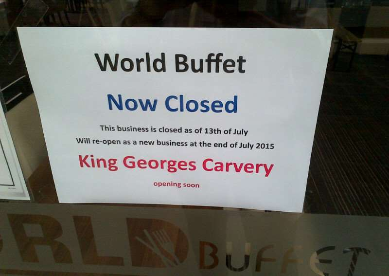 A notice states World Buffet has closed.