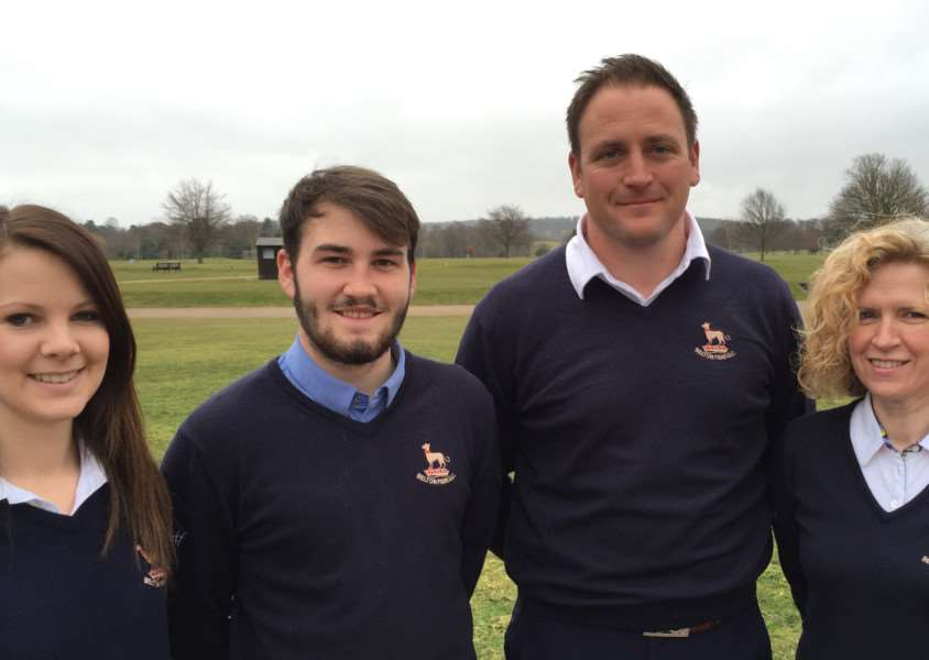 Pictured from left Assistant PGA golf professional Rachel Woodcock, golf shop assistant Sam Sutton, head PGA golf professional Mike Timson and golf shop manager Michele Timson.